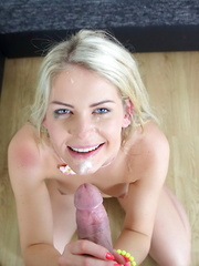 Adorable blonde lass rides on top of a stiff member for a messy facial